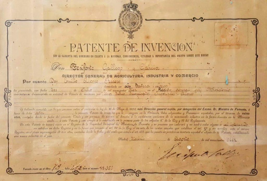 Patente con la elaboración de los Imperiales en 1910